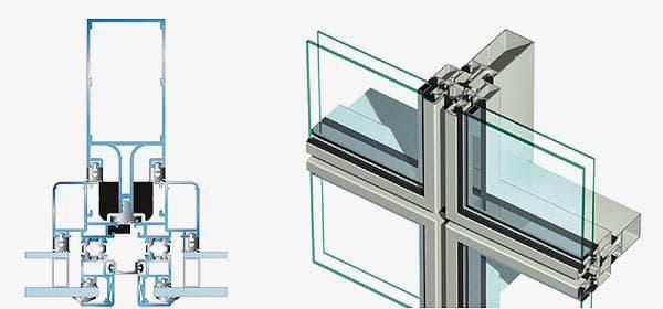 полуструктурное фасадное остекление из алюминиевого профиля