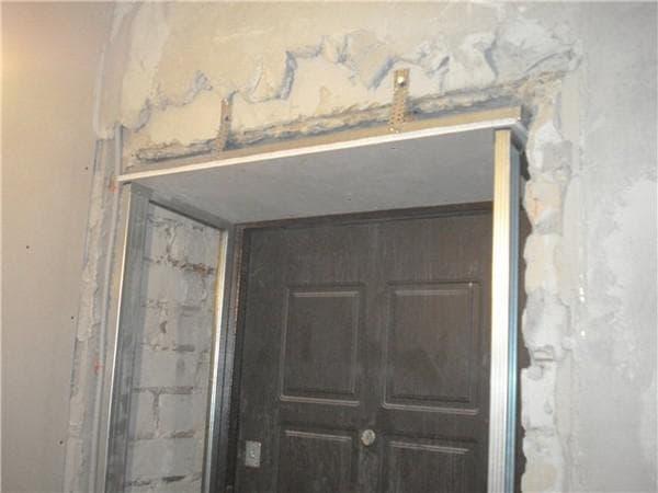 отделка проёма дверей гипсокартоном