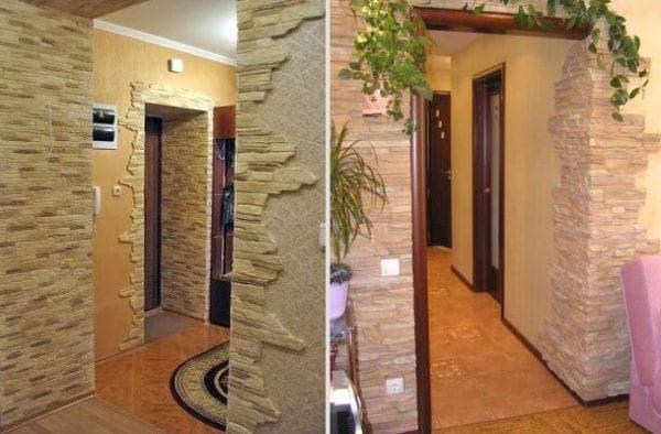 отделка проёма дверей декоративным камнем