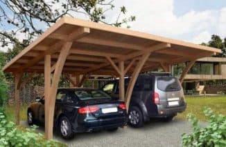 проект навеса для автомобиля из дерева