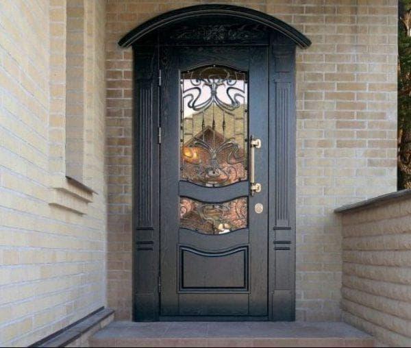 входные стальные двери для загородного дома со стеклом