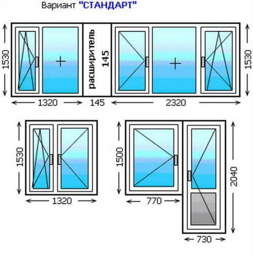 стандартные размеры стеклопакетов